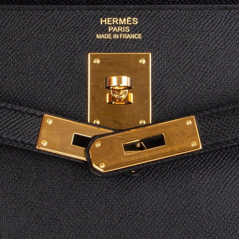 HERMES Black Epsom leather & Gold KELLY II 35 SELLIER Bag For Sale 3