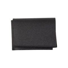 HERMES black Epsom leather GUERNESEY Credit Card Wallet