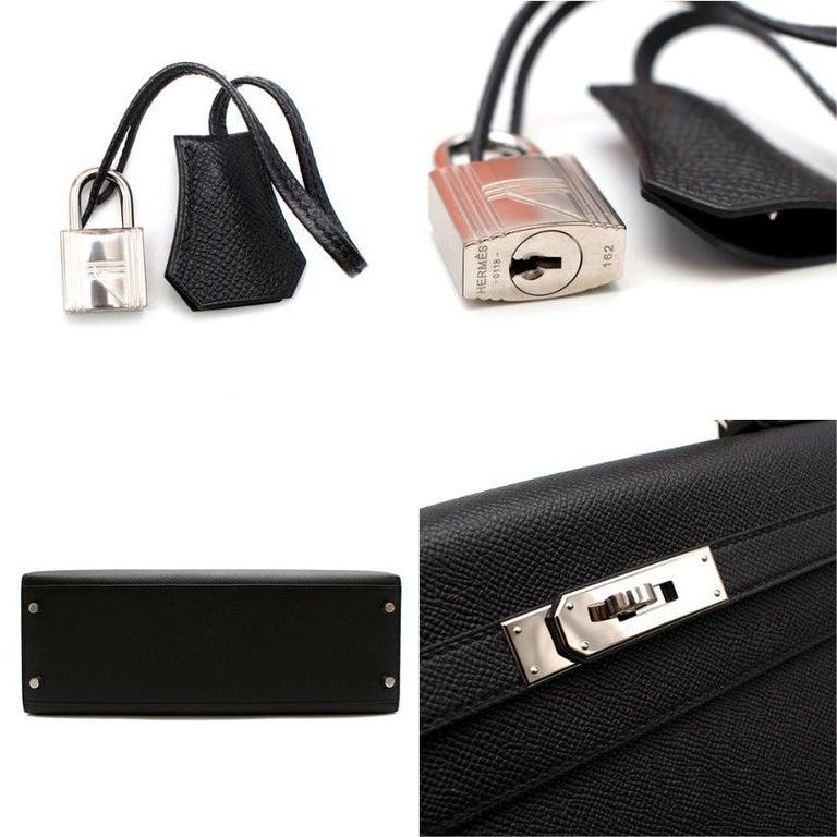 Hermes Black Epsom Leather Kelly Sellier 32 PHW For Sale 5