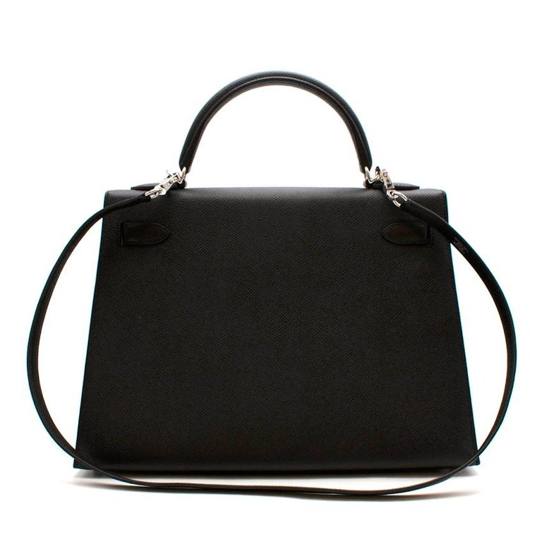 Hermes Black Epsom Leather Kelly Sellier 32 PHW In New Condition For Sale In London, GB