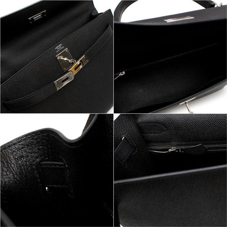 Women's Hermes Black Epsom Leather Kelly Sellier 32 PHW For Sale