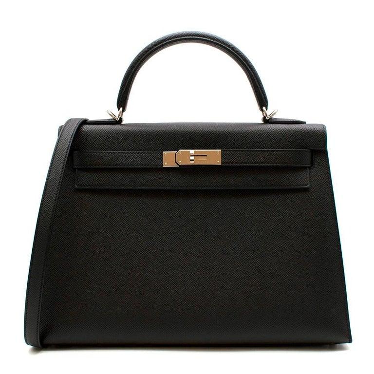 Hermes Black Epsom Leather Kelly Sellier 32 PHW For Sale 1