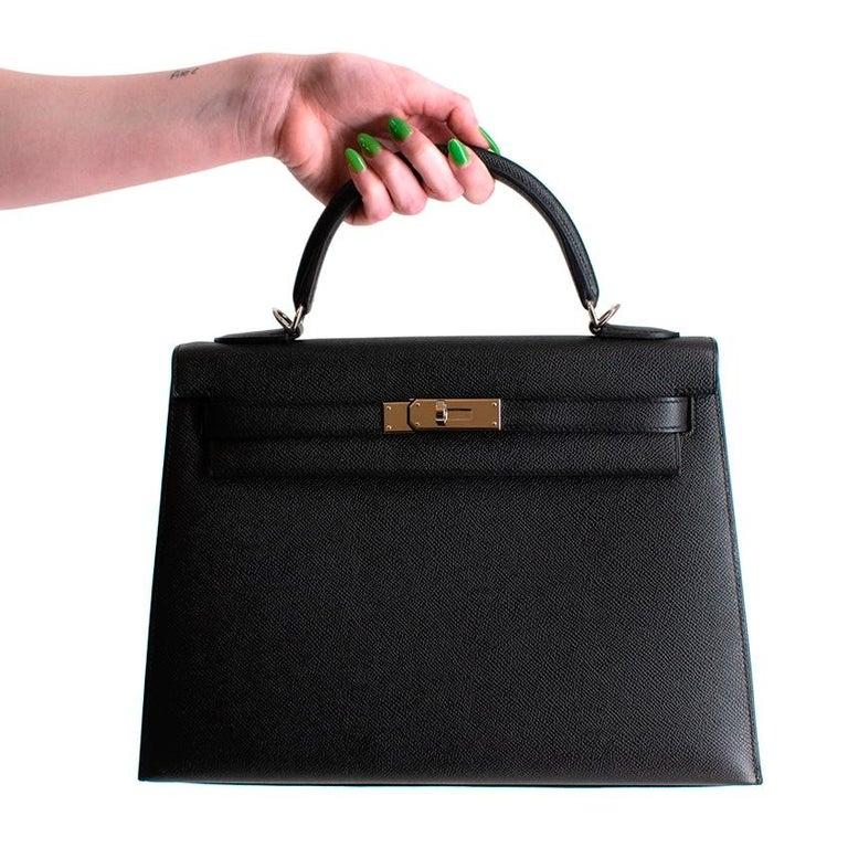 Hermes Black Epsom Leather Kelly Sellier 32 PHW For Sale 2