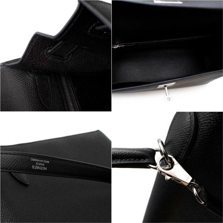 Hermes Black Epsom Leather Kelly Sellier 32 PHW For Sale 3