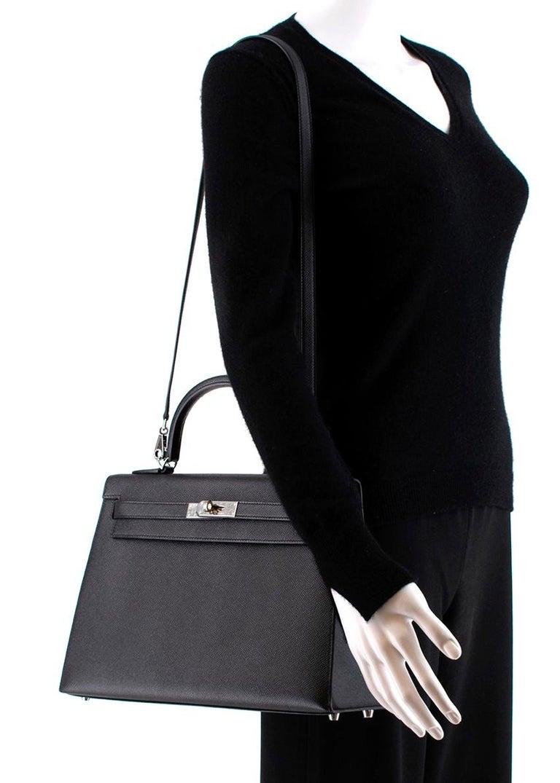 Hermes Black Epsom Leather Kelly Sellier 32 PHW For Sale 4