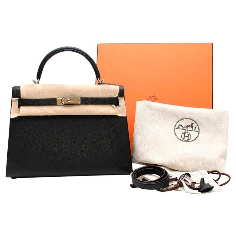 Hermes Black Epsom Leather Kelly Sellier 32 PHW For Sale