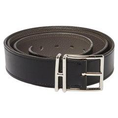 Hermes Black/Etain Box and Togo Leather Nathan Belt 95CM