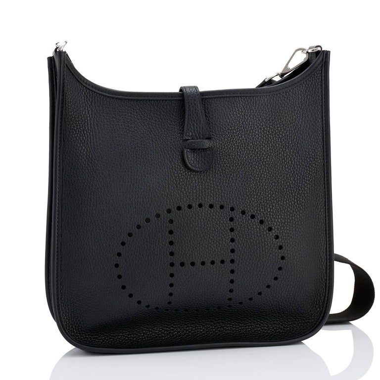 Hermes Black Evelyne PM Cross-Body Messenger Bag Chic NEW GIFT Brand New in Box. Store Fresh. Pristine condition. Perfect gift! Comes with with shoulder strap, sleeper for bag and signature orange Hermes box box. This is the iconic Hermes workhorse