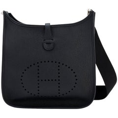 Hermes Black Evelyne III 29cm PM Cross-Body Messenger Bag D Stamp, 2019