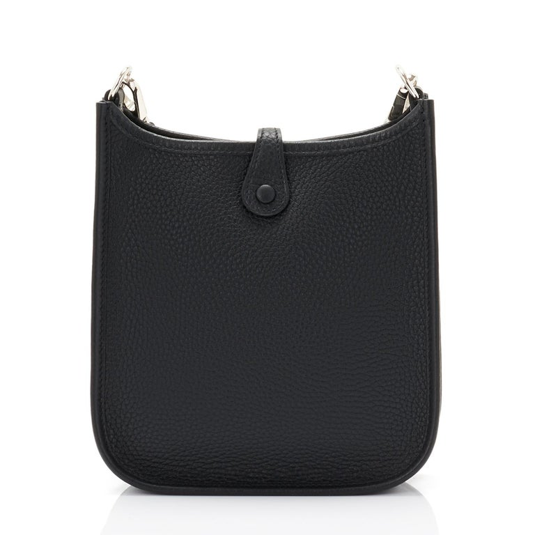 Hermes Black Evelyne TPM Clemence Shoulder Cross Body Messenger Bag In New Condition For Sale In New York, NY