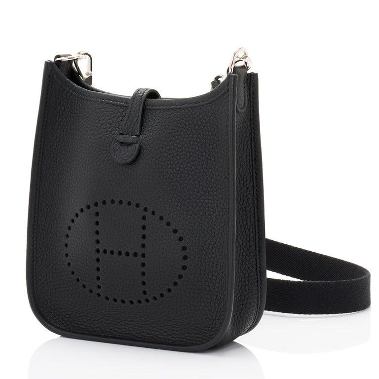 Women's or Men's Hermes Black Evelyne TPM Clemence Shoulder Cross Body Messenger Bag For Sale