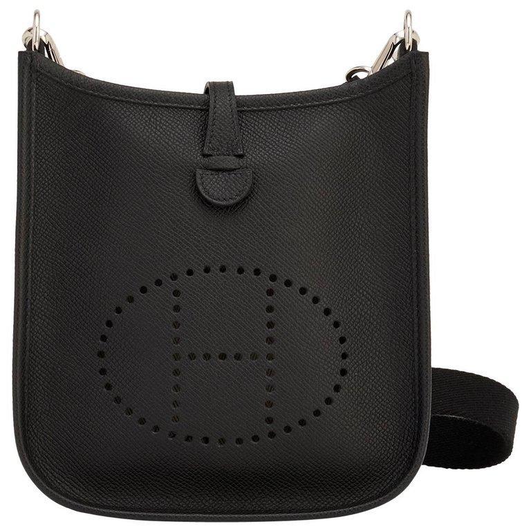 Hermes Black Evelyne TPM Clemence Shoulder Cross Body Messenger Bag For Sale 4