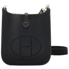 Hermes Black Evelyne TPM Clemence Shoulder Cross Body Messenger Bag