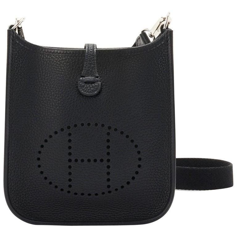 Hermes Black Evelyne TPM Clemence Shoulder Cross Body Messenger Bag For Sale