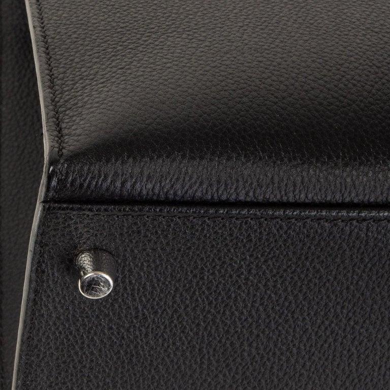HERMES black Evercalf leather KELLY 35 SELLIER Bag Palladium For Sale 6