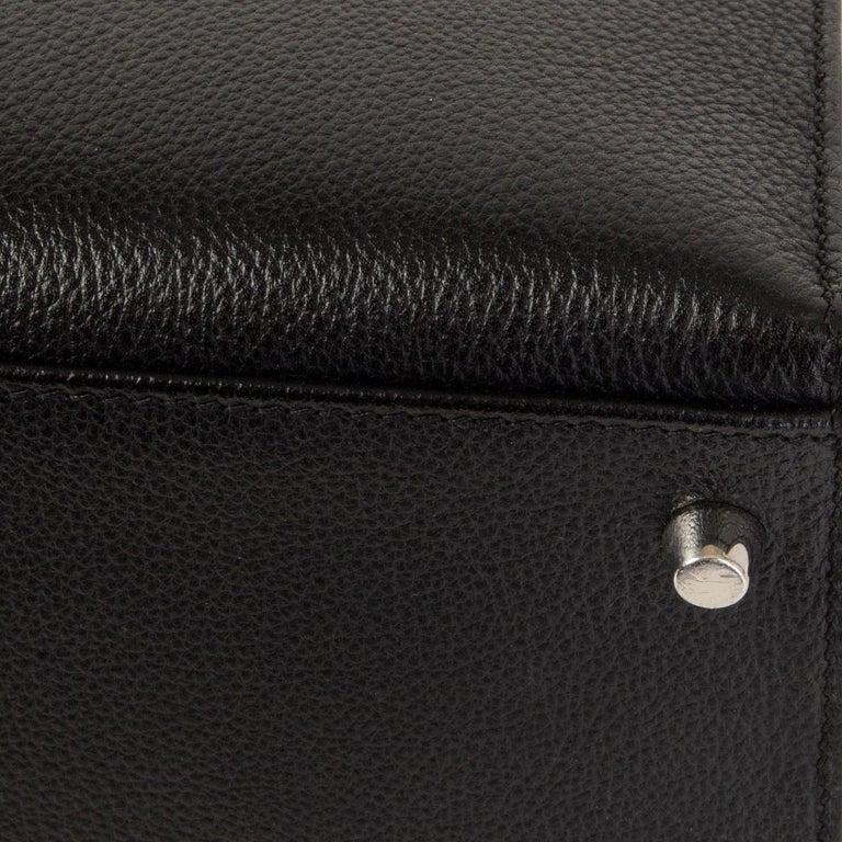 HERMES black Evercalf leather KELLY 35 SELLIER Bag Palladium For Sale 7