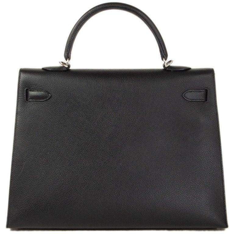 Black HERMES black Evercalf leather KELLY 35 SELLIER Bag Palladium For Sale