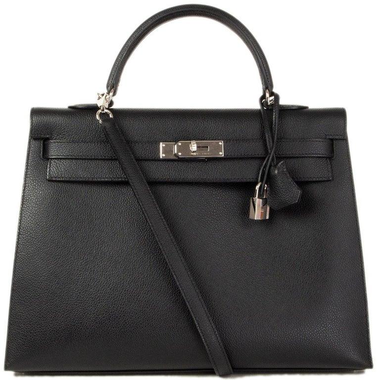 Women's HERMES black Evercalf leather KELLY 35 SELLIER Bag Palladium For Sale