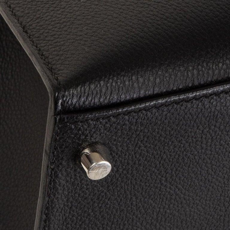 HERMES black Evercalf leather KELLY 35 SELLIER Bag Palladium For Sale 4