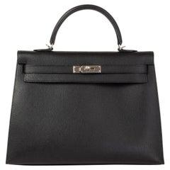 HERMES black Evercalf leather KELLY 35 SELLIER Bag Palladium