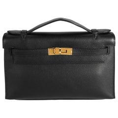 Hermès Black Evercolor Leather Kelly Pochette GHW