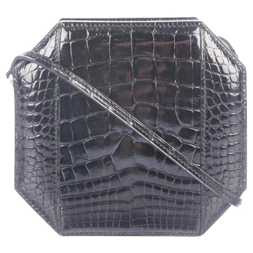 Hermes Black Exotic Alligator Leather Square Evening Clutch Shoulder Bag