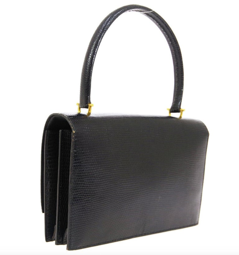 Hermes Black Exotic Lizard Gold Evening Kelly Style Top Handle Satchel Bag In Good Condition In Chicago, IL