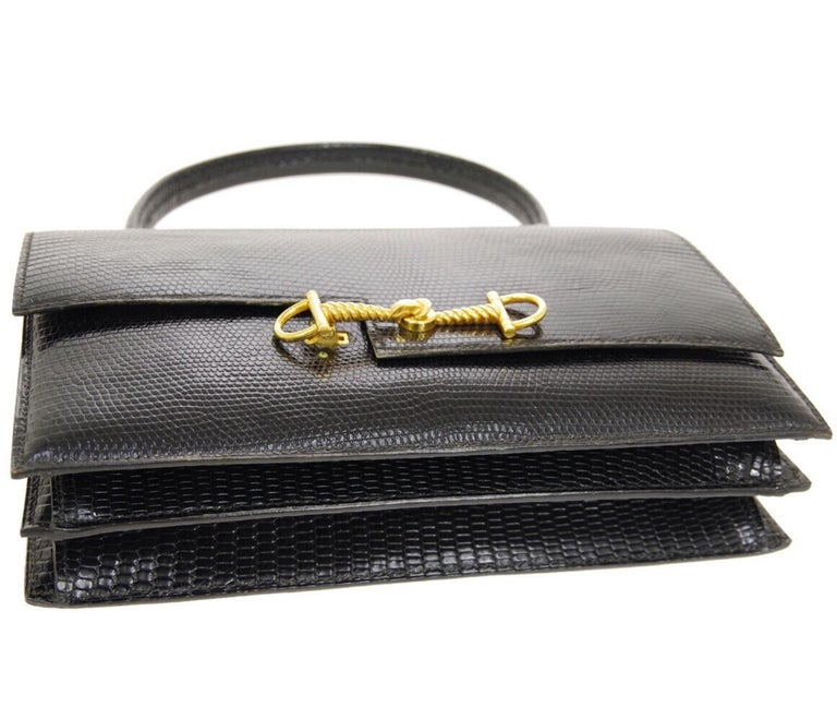 Women's Hermes Black Exotic Lizard Gold Evening Kelly Style Top Handle Satchel Bag