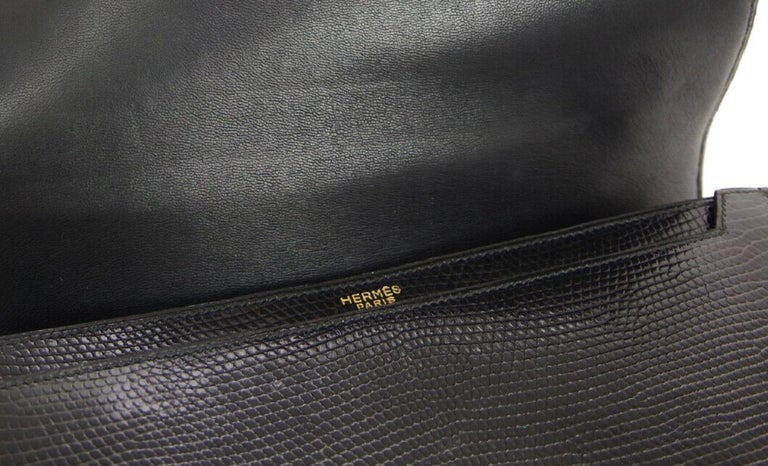 Hermes Black Exotic Lizard Gold Evening Kelly Style Top Handle Satchel Bag 2