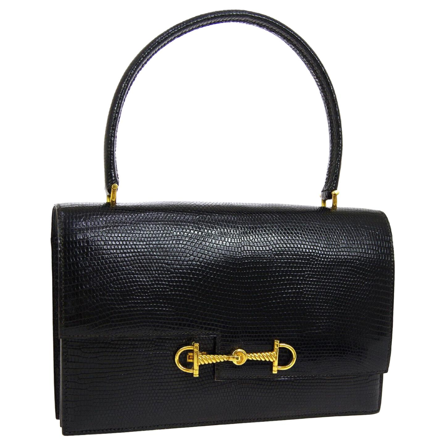 Hermes Black Exotic Lizard Gold Evening Kelly Style Top Handle Satchel Bag