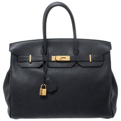 Hermes Black Fjord Leather Gold Hardware Birkin 35 Bag