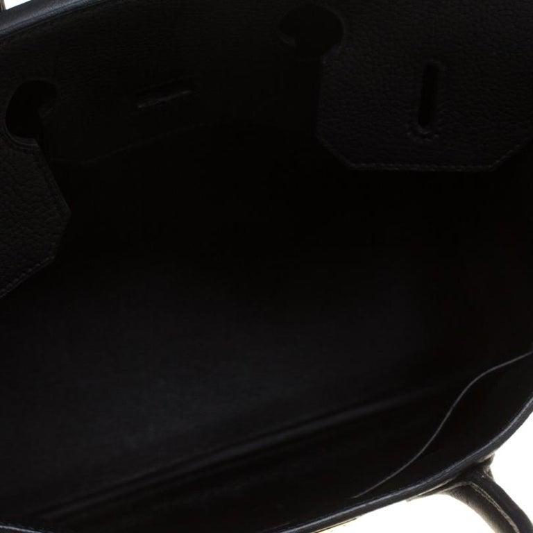 Hermes Black Fjord Leather Gold Hardware HAC Birkin 32 Bag For Sale 6
