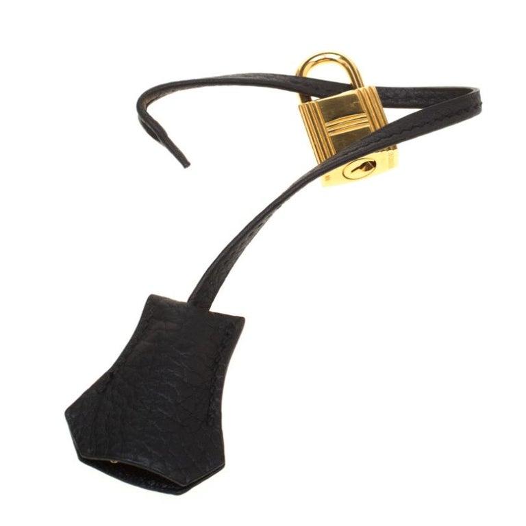 Hermes Black Fjord Leather Gold Hardware HAC Birkin 32 Bag For Sale 7