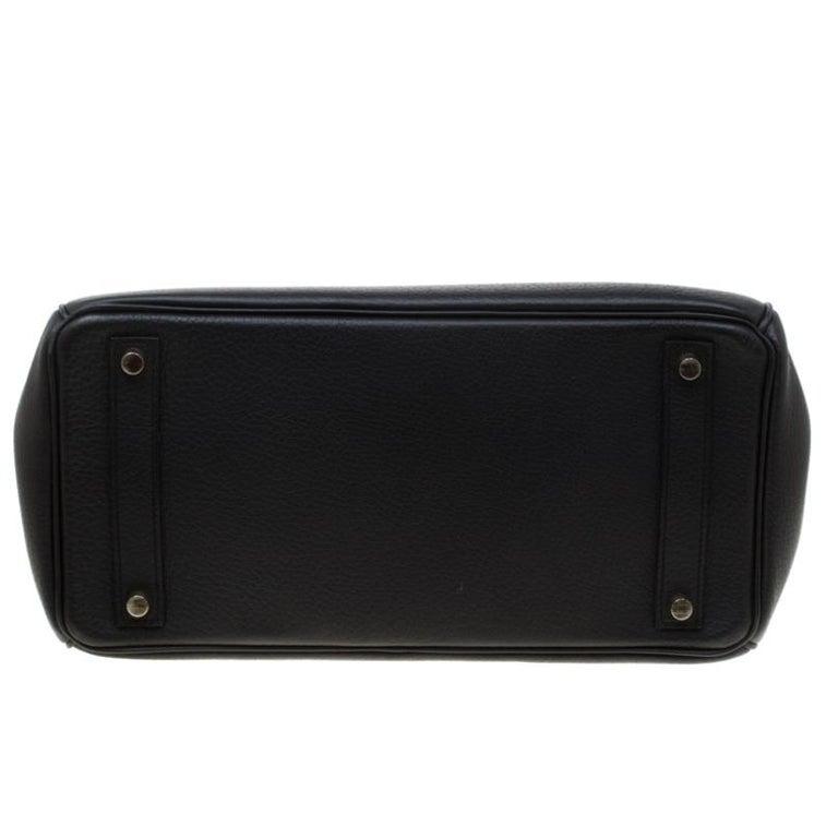 Hermes Black Fjord Leather Gold Hardware HAC Birkin 32 Bag For Sale 8