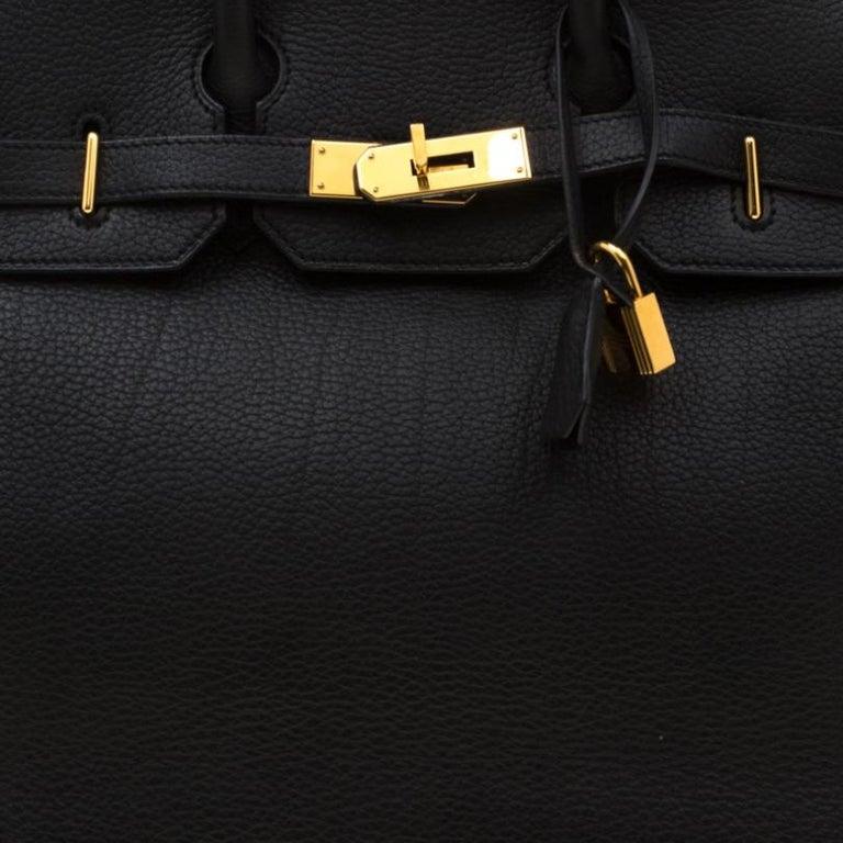 Hermes Black Fjord Leather Gold Hardware HAC Birkin 32 Bag For Sale 9