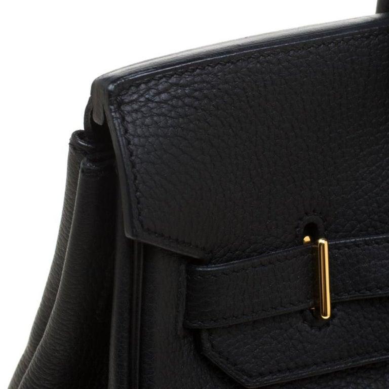 Hermes Black Fjord Leather Gold Hardware HAC Birkin 32 Bag For Sale 10