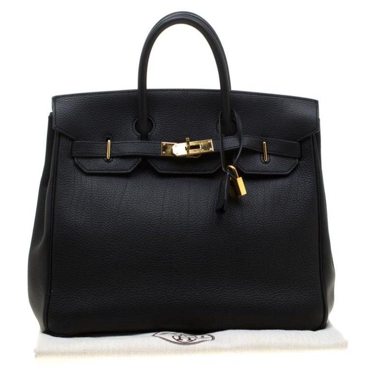 Hermes Black Fjord Leather Gold Hardware HAC Birkin 32 Bag For Sale 11