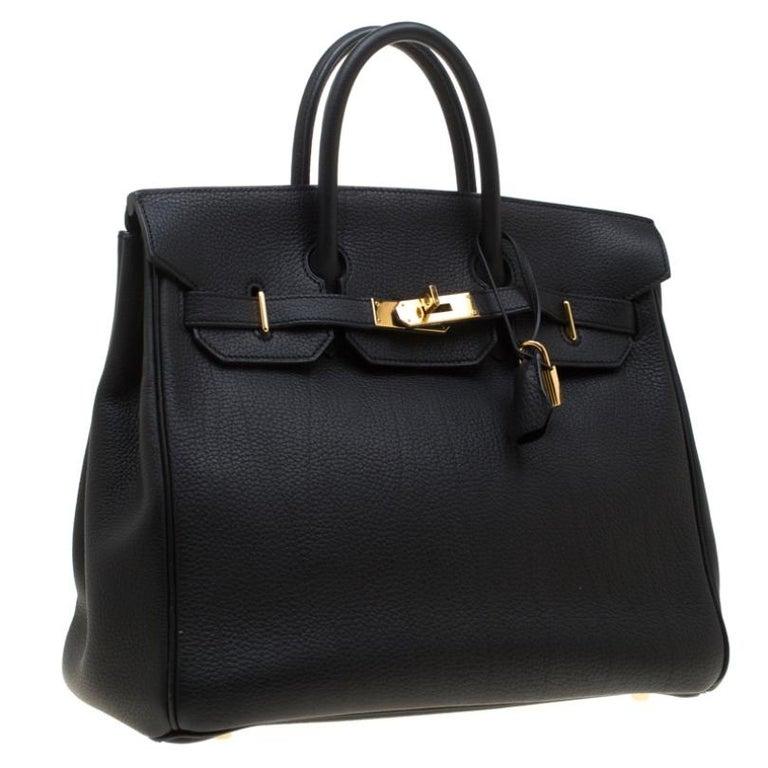 Women's Hermes Black Fjord Leather Gold Hardware HAC Birkin 32 Bag For Sale