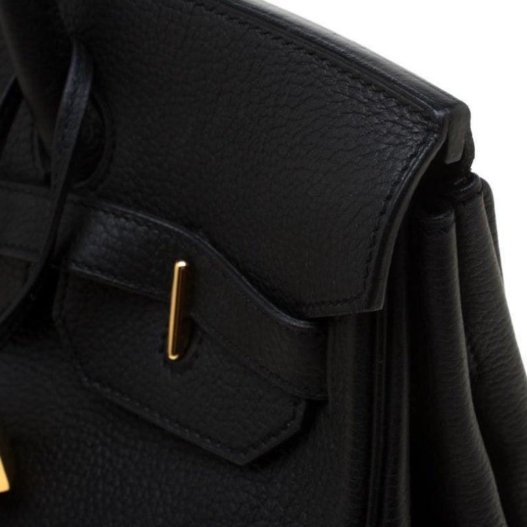 Hermes Black Fjord Leather Gold Hardware HAC Birkin 32 Bag For Sale 2