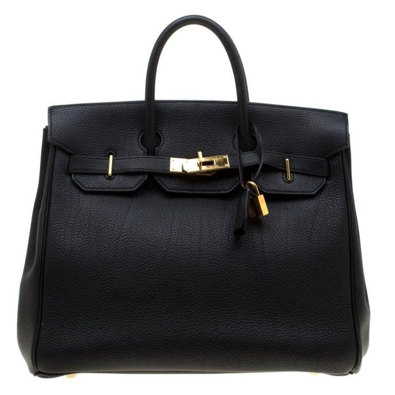 Hermes Black Fjord Leather Gold Hardware HAC Birkin 32 Bag For Sale