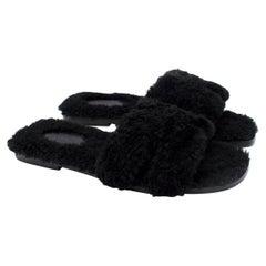 Hermes Black Fluffy Shearling Oran Sandal - Discontinued/Rare - Us size 9.5