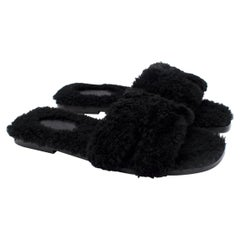 Hermes Black Fluffy Shearling Oran Sandals - Discontinued/Rare - Us size 7.5
