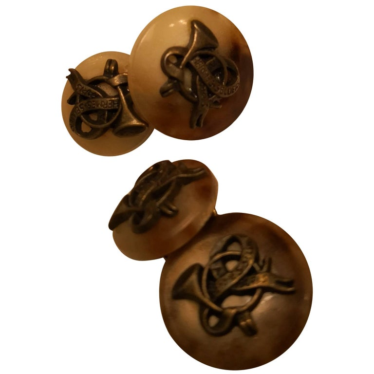 Hermes Black Forest Pair of Cufflinks in Horn For Sale