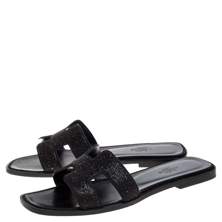 Hermes Black Glitter Leather Oran Flat Slides Size 38.5 For Sale 1