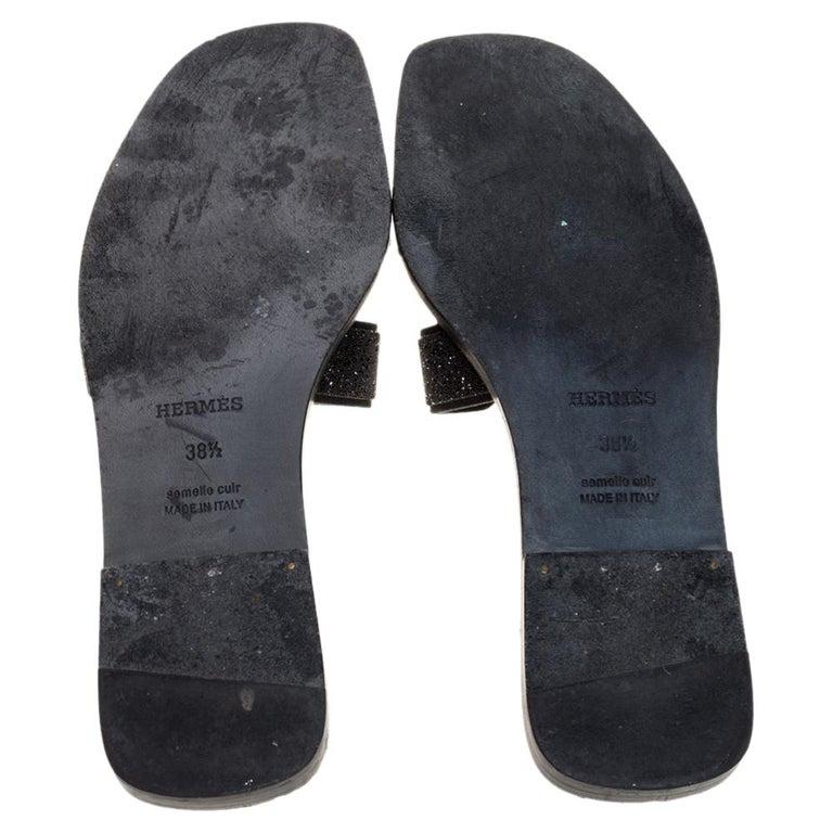 Hermes Black Glitter Leather Oran Flat Slides Size 38.5 For Sale 3