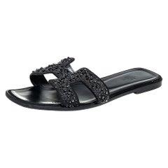 Hermes Black Glitter Suede Embellished Oran Flat Slides Size 40