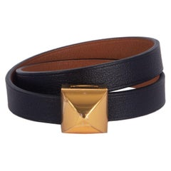 HERMES black / Gold camel Swift MEDOR INFINI Double Tour Bracelet T1