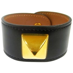 Hermes Black Gold Stud Men's Women's Evening Cuff Bracelet