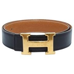 Hermes Black & Gold-Tone Leather Belt