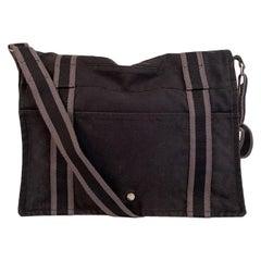 Hermes Black Gray Cotton Canvas Fourre Tout Besace Messenger Bag